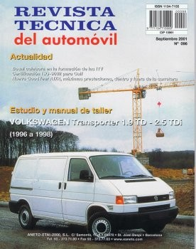 MANUAL DE TALLER VOLKSWAGEN TRANSPORTER 1.9TD, 2.5TDI DESDE 1996-1998 Nº96