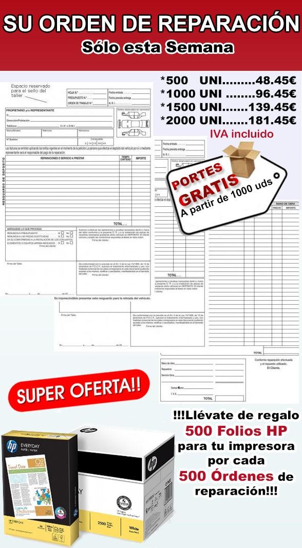 1000 PARTES DE TRABAJO + 1000 FOLIOS HP  especial talleres mecánicos-(ENVIO GRATIS)