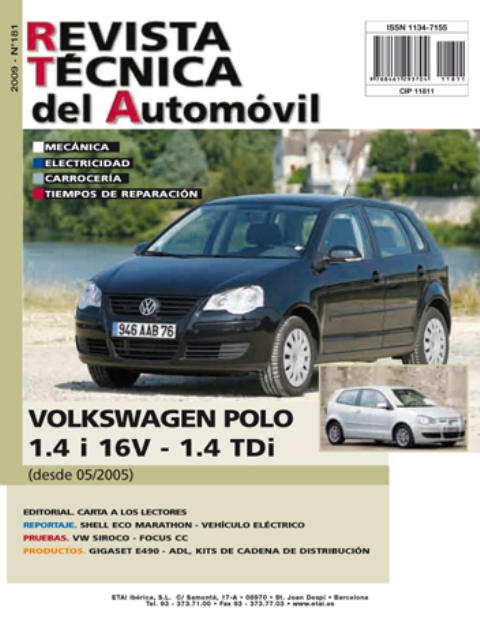 MANUAL DE  TALLER Y MECANICA  VOLKSWAGEN POLO DESDE 5/2005 R181