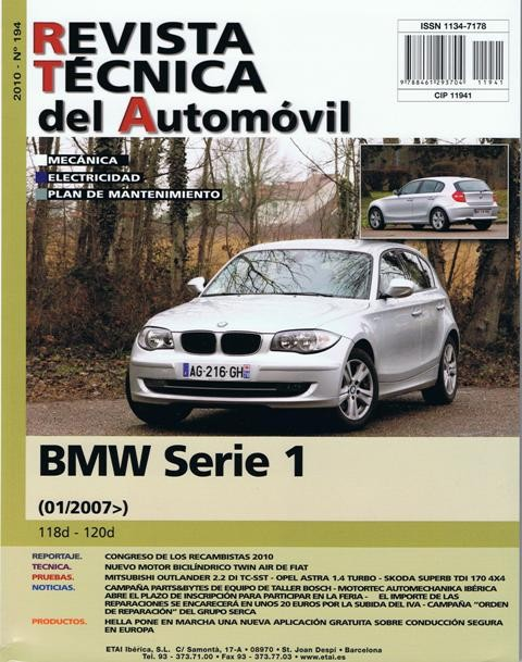 MANUAL DE TALLER Y MECANICA BMW SERIE 1,118D 120D DESDE 1-2007-R194