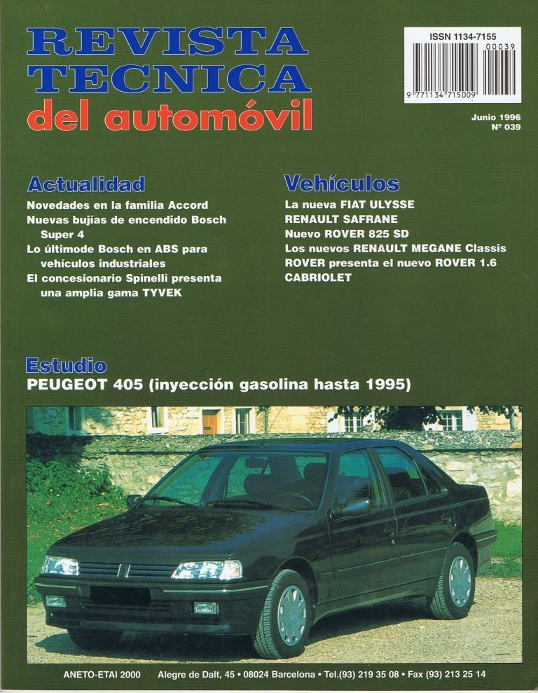 MANUAL DE TALLER PEUGEOT 405, 1.9 GASOLINA HASTA 1995 RTA39