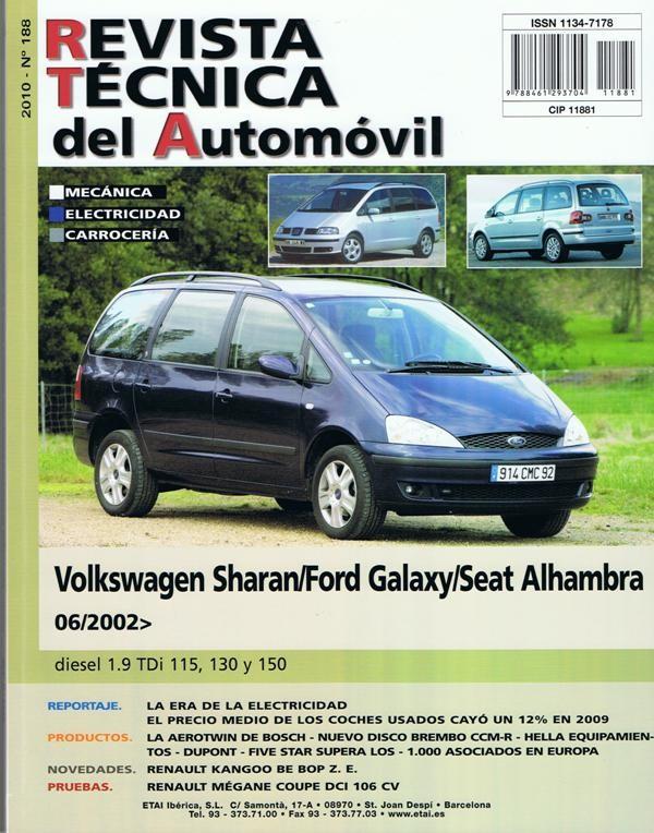 MANUAL DE TALLER Y MECANICA VW SHARAN 1.9 TDi. 6-2000/2006 R188+REGALO TESTER