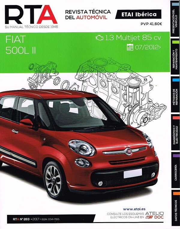MANUAL DE TALLER Y MECANICA  FIAT 500L II 1.3 MULTIJET 85 CV DESDE 07/2012 RTA 263