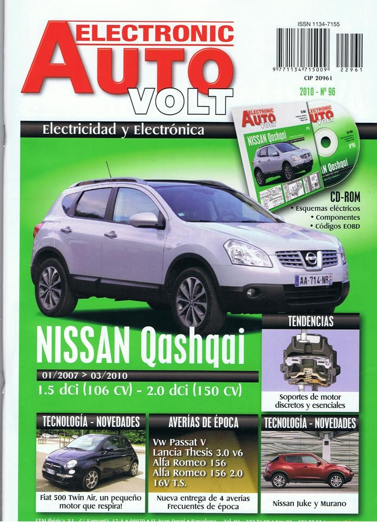 MANUAL DE TALLER ELECTRICIDAD NISSAN QASHQAI DIESEL+CD ROM EAV96+REGALO TESTER
