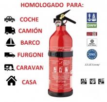 EXTINTOR HOMOLOGADO 1 KG ABC COCHE BARCO CARAVANA CON SOPORTE Y MANOMETRO