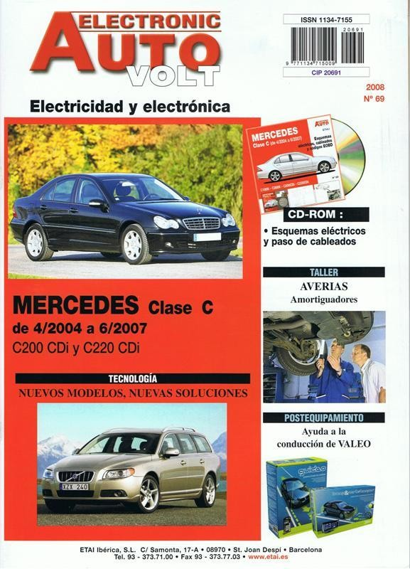 MANUAL DE TALLER MERCEDES BENZ CLASE C C200CDI C220CDi 2004-2007+CD ROM ELECTRICO Rª69