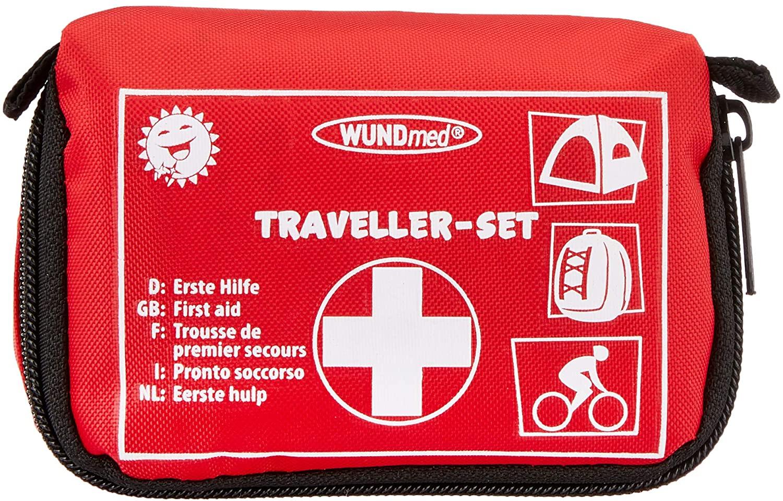 Juego de primeros auxilios, 32 piezas, incluye práctico estuche con cinturón.