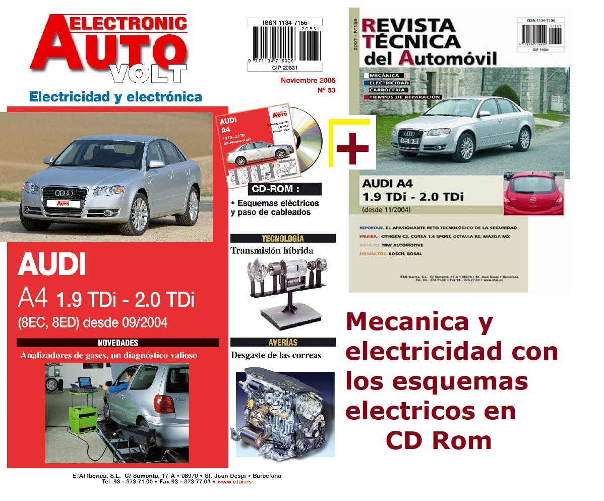 MANUAL DE TALLER AUDI A4 1.9 Y 2.0 TDi MECANICA Y ELECTRICIDAD+CD ROM,desde 2004
