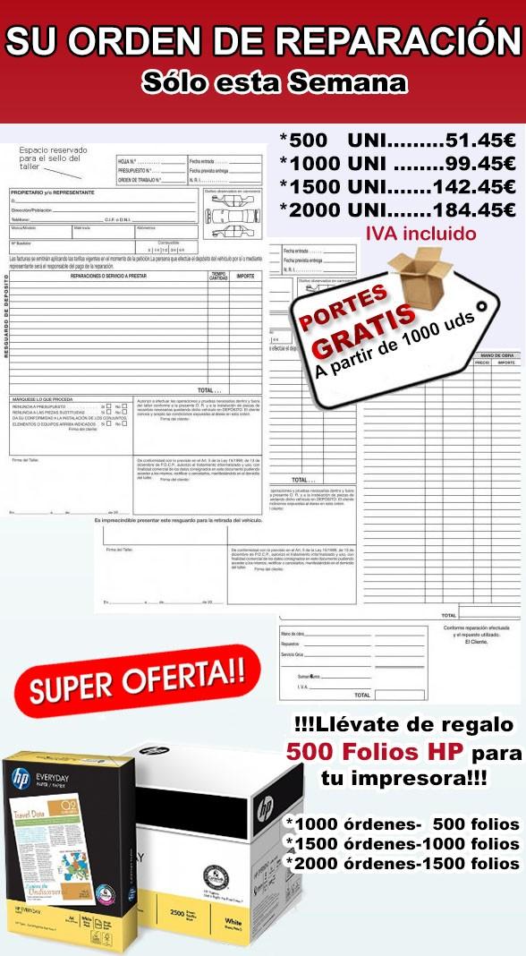 2000 PARTES DE TRABAJO + 1500 FOLIOS HP, especial talleres mecánicos,(Envio Gratis)